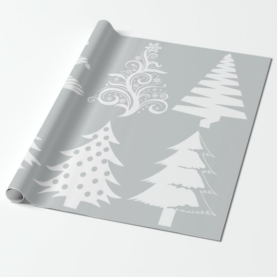Christmas tree pattern silver white wrapping paper