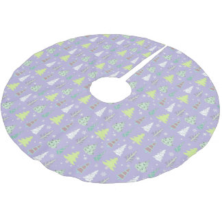 Christmas Tree Pattern Violet and Lime Green ID175 Brushed Polyester Tree Skirt