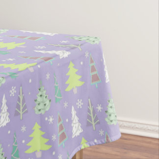Christmas Tree Pattern Violet and Lime Green ID175 Tablecloth