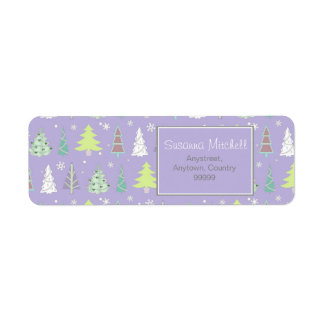 Christmas Tree Pattern Violet and Lime ID175 Return Address Label