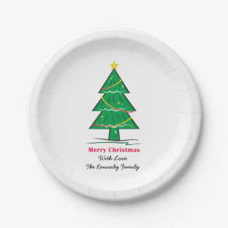 Christmas Tree Personalized Family Christmas Paper Plate