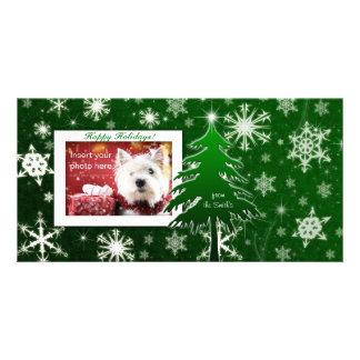 Christmas Tree Photo Card template snowflakes