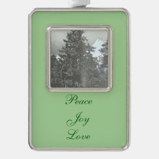 Christmas Tree Photo Silver Plated Framed Ornament