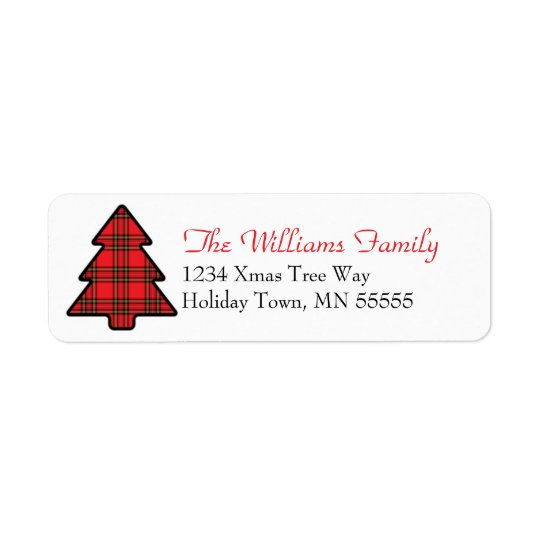 Christmas Tree Plaid Address Label