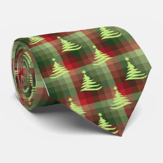 Christmas Tree Plaid Forest Green Single-Sided Tie