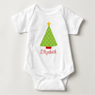 Christmas Tree Polka Dots Kids Personalized Baby Bodysuit