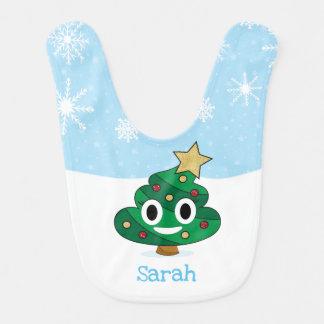 Christmas Tree Poop Emoji Baby Bib