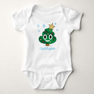 Christmas Tree Poop Emoji Baby Bodysuit