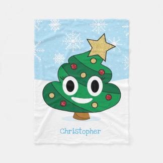 Christmas Tree Poop Emoji Fleece Blanket