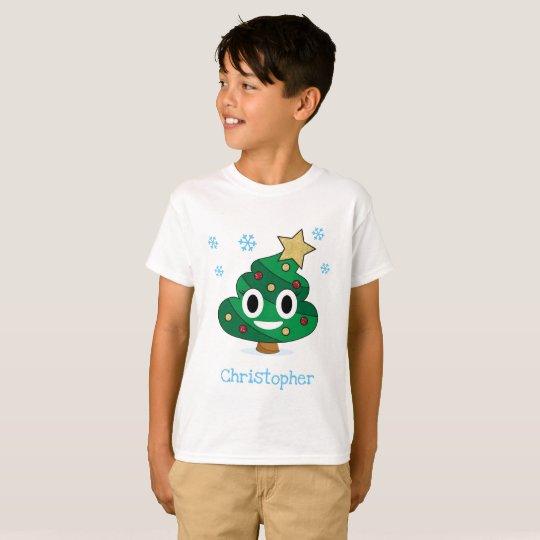 Christmas Tree Poop Emoji Kids T-Shirt With Name