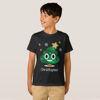 Christmas Tree Poop Emoji T-Shirt with Name