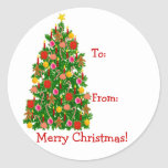 Christmas Tree Present Labels Round Sticker