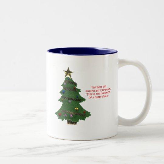 Christmas Tree Present Two-Tone Coffee Mug