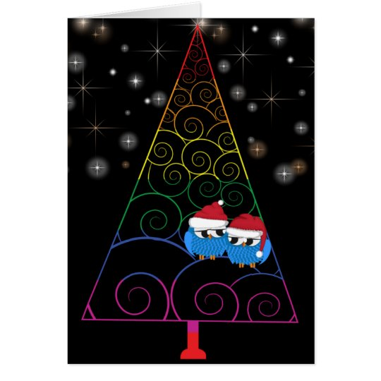 Christmas Tree Rainbow And Two Owls Card