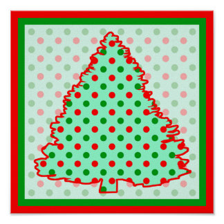 Christmas Tree Red and Green Polka Dots Poster