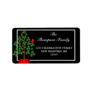 Christmas Tree Red Bird Holiday Address Label