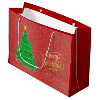 Christmas Tree Red Holiday Textured Gift Bag
