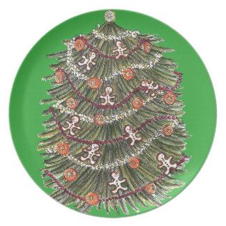 Christmas Tree Red Melamine Plate