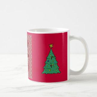 Christmas tree, Red Traditional Floral design Basic White Mug