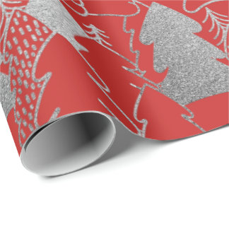 Christmas Tree Red Wine Silver Gray Glitter Wood Wrapping Paper