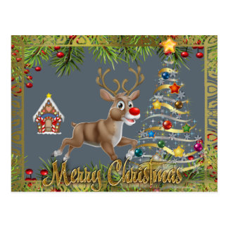 christmas tree reindeer gingerbread gold silver postcard
