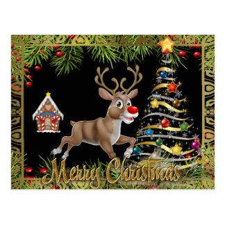 christmas tree reindeer gingerbread scene postcard