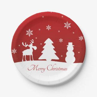 Christmas Tree Reindeer Snowman - Paper Plate