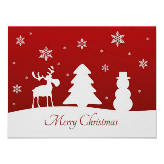 Christmas Tree Reindeer Snowman - Poster Print
