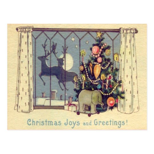 Christmas Tree Reindeer Toys Full Moon Postcard