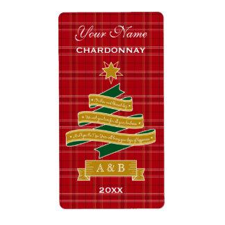 Christmas Tree Ribbon Red Plaid Banner Wine Label
