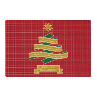 Christmas Tree Ribbon Red Plaid Star Custom Banner Placemat