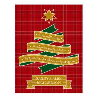 Christmas Tree Ribbon Red Plaid Star Custom Banner Postcard