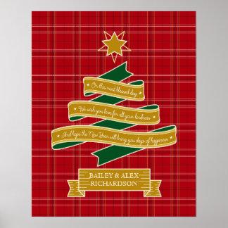 Christmas Tree Ribbon Red Plaid Star Custom Banner Poster