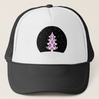 Christmas Tree Ribbons Snowy Sky Purple Cap