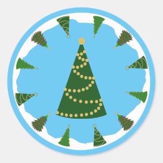 Christmas Tree Ring with Modern Christmas Tree Round Sticker