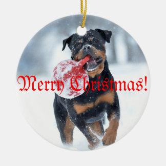 Christmas tree Rottweiler Round Ceramic Decoration