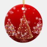 Christmas tree round ceramic decoration