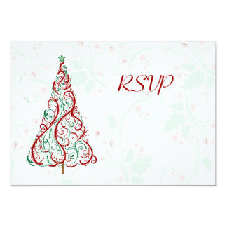 Christmas Tree RSVP Card 9 Cm X 13 Cm Invitation Card