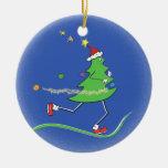 Christmas Tree Runner Round Ceramic Decoration