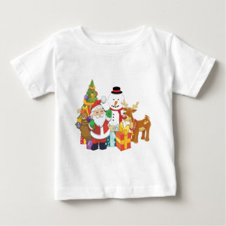 Christmas Tree Santa Reindeer Snowman Baby T-Shirt