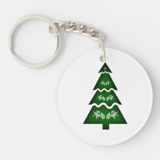 Christmas Tree Sectional call ornament 3 Double-Sided Round Acrylic Keychain