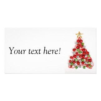Christmas tree shape personalized photo card