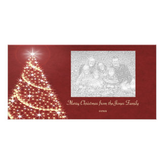 Christmas Tree Shimmer Personalized Photo Card