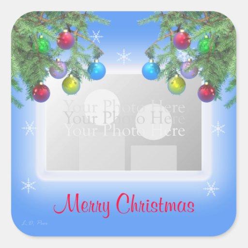 Christmas Tree Shine on Blue (photo frame) Square Stickers