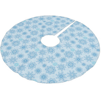 Christmas Tree Skirt-Blue Snowflakes Brushed Polyester Tree Skirt