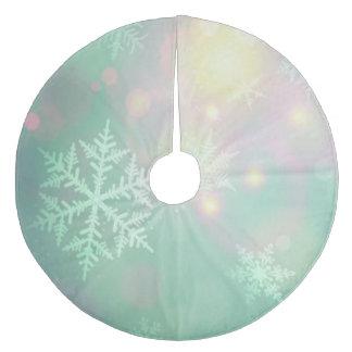 Christmas Tree Skirt/Pastel Colored Snowflakes Fleece Tree Skirt