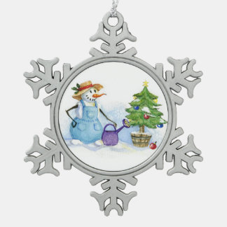 Christmas tree snoman gardener pewter snowflake decoration