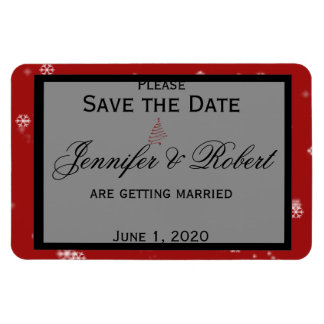 Christmas Tree Snowflake Red Wedding Save the Date Rectangular Photo Magnet