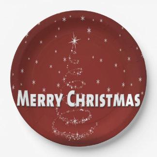 Christmas Tree Snowflakes Paper Plate
