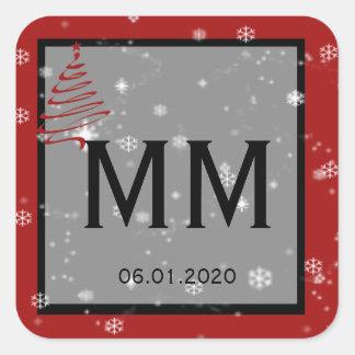 Christmas Tree Snowflakes Red Monogram Sticker